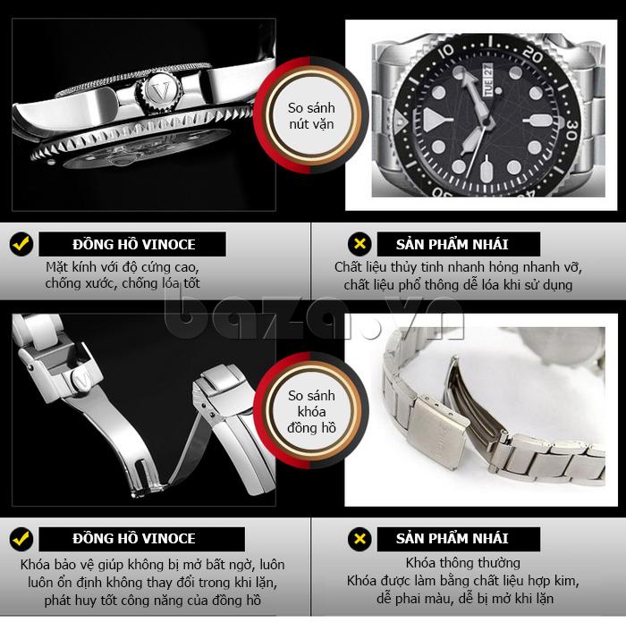 Đồng hồ nam viền khắc số Vinoce 6332222 thiết kế tuyệt vời