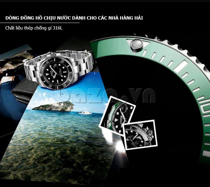 Đồng hồ nam viền khắc số, chống nước hoàn hảo Vinoce 6332222 độc