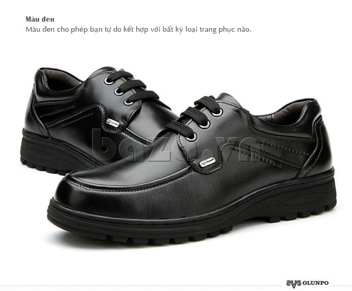 Giầy da nam thời trang Olunpo QYS1202 màu đen cho bạn tư do kết hợp đồ