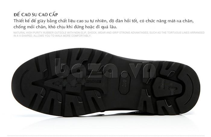 Đế giày cao su cao cấp, thiết kế chú trọng để chống mỏi chân