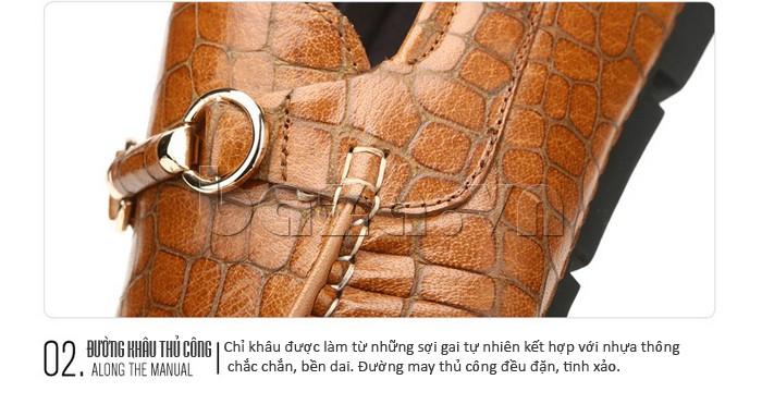 Giầy da nam Olunpo CJY1403 đường khâu thủ công với chỉ làm từ sợi gai pha nhựa chắc chắn