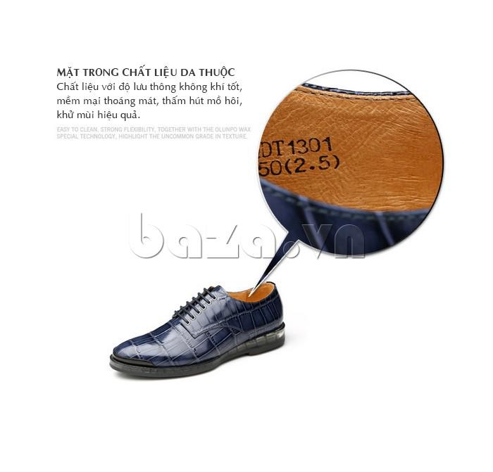 mặt trong chất liệu da thuộc của Giày da nam OLUNPO QDT1301