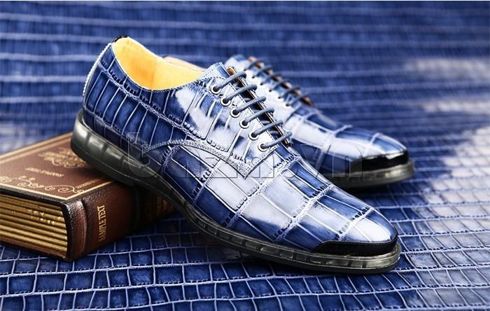 Giày da nam OLUNPO QDT1301 màu xanh sang trọng và quý tộc