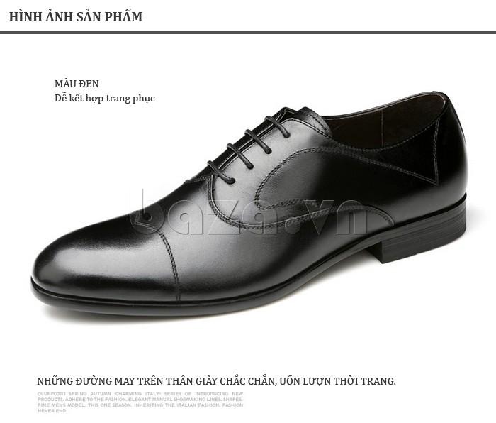 Giầy da nam thời trang Olunpo QLXS1309 màu đen dễ kết hợp trang phục