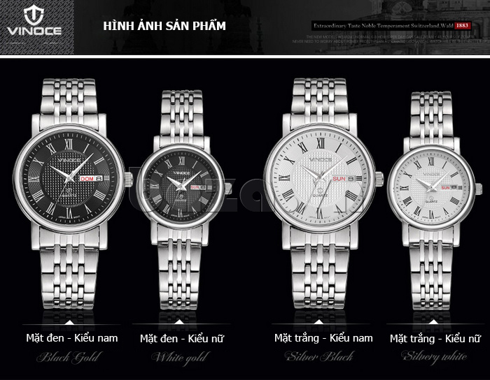 Đồng hồ đôi Vinoce V8373 cao cấp
