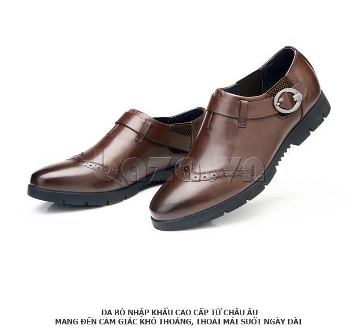 Giày da nam Olunpo QXD1403  màu nâu cá tính