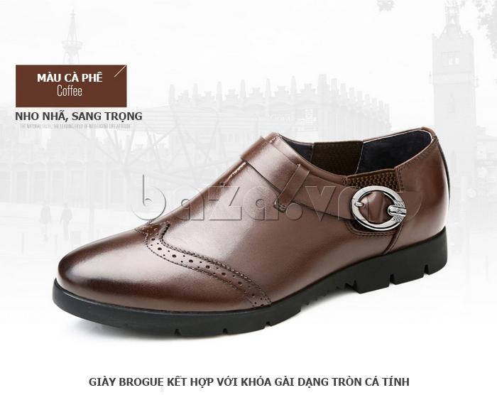 Giày da nam Olunpo QXD1403  màu nâu nho nhã sang trọng