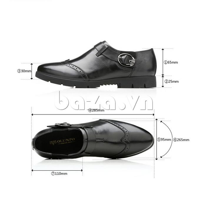 kích thước của Giày da nam Olunpo QXD1403