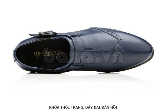 Giày da nam Olunpo QXD1403  có khóa thời trang dây đàn hồi