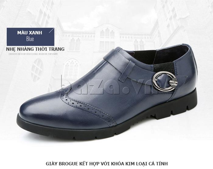 Giày da nam Olunpo QXD1403  màu xanh nhẹ nhàng thời trang