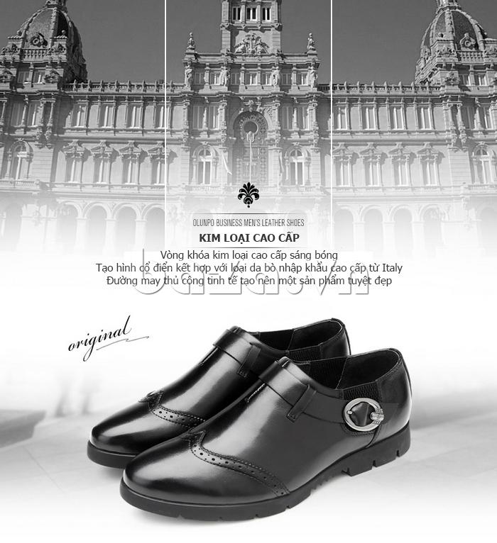 Giày da nam Olunpo QXD1403  kim loại cao cấp