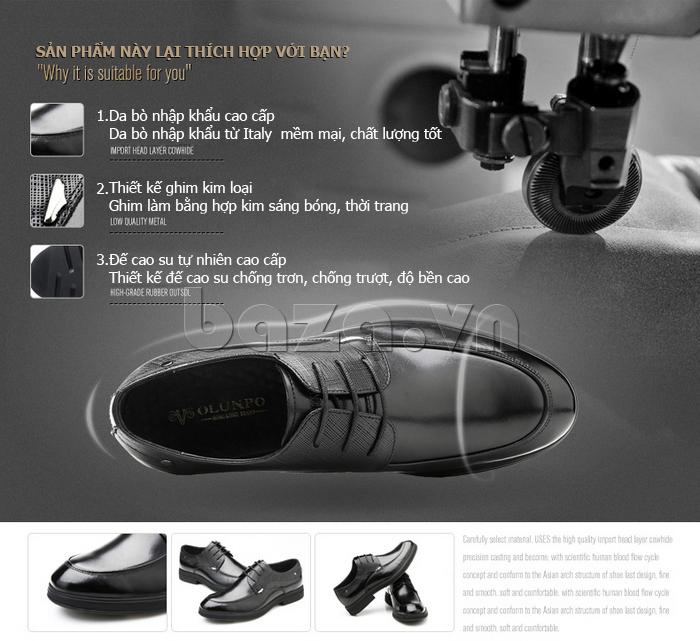 Giày da nam thời trang OLUNPO QHSL1405 giúp nam giới tự tin trên mọi địa hình