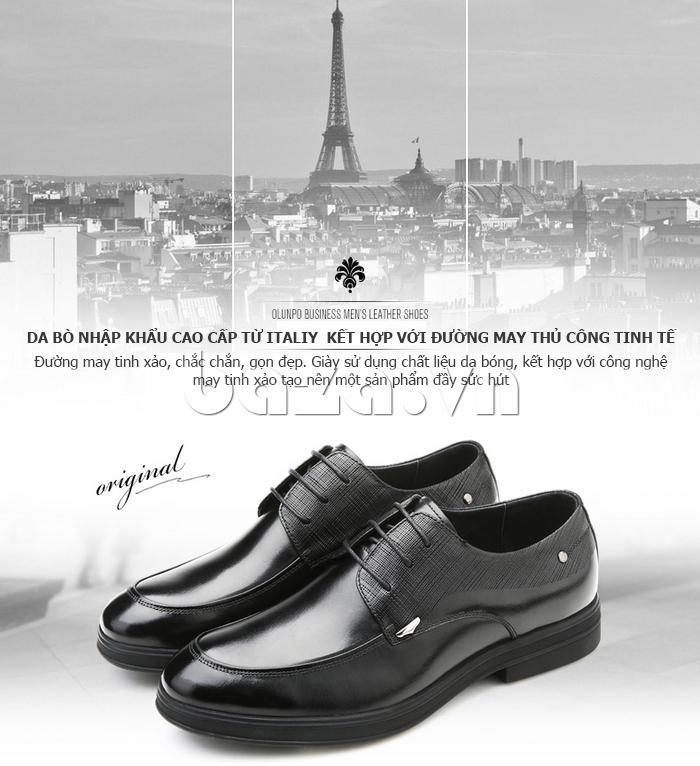 Giày da nam thời trang OLUNPO QHSL1405 may thủ công tinh tế