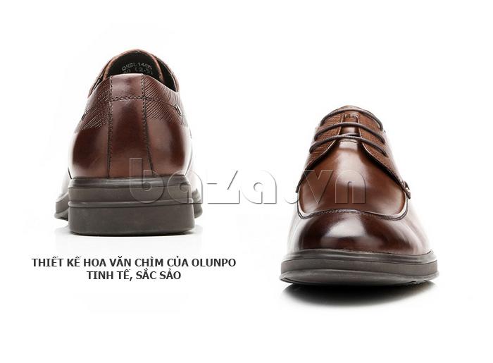 Giày da nam thời trang OLUNPO QHSL1405 thiết kế hoa văn chìm tinh xảo