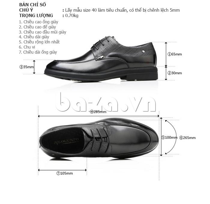 thông số của Giày da nam thời trang OLUNPO QHSL1405