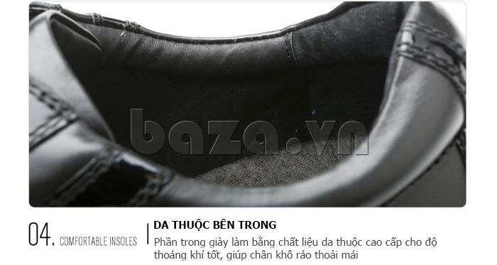 Giày da nam Olunpo QHT1426 được thiết kế họa tiết dập nổi ấn tượng