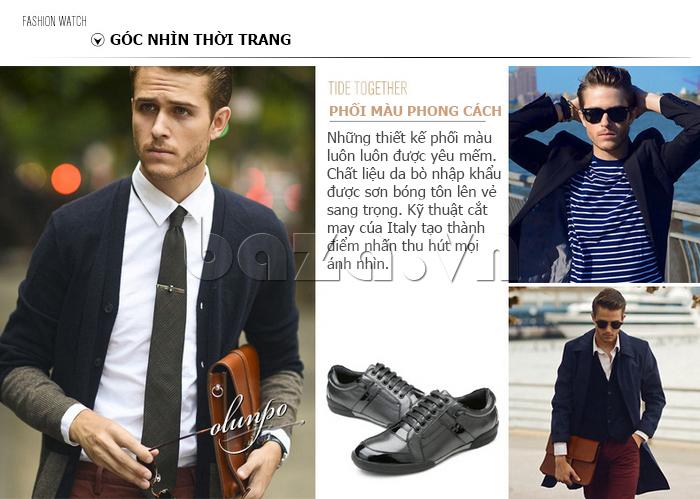 Giày da nam Olunpo QHT1426 phối màu phong cách