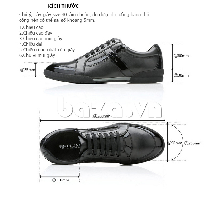 Kích thước của Giày da nam Olunpo QHT1426
