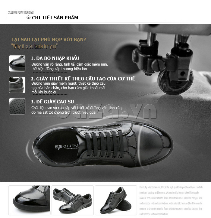 Chi tiết của Giày da nam Olunpo QHT1426