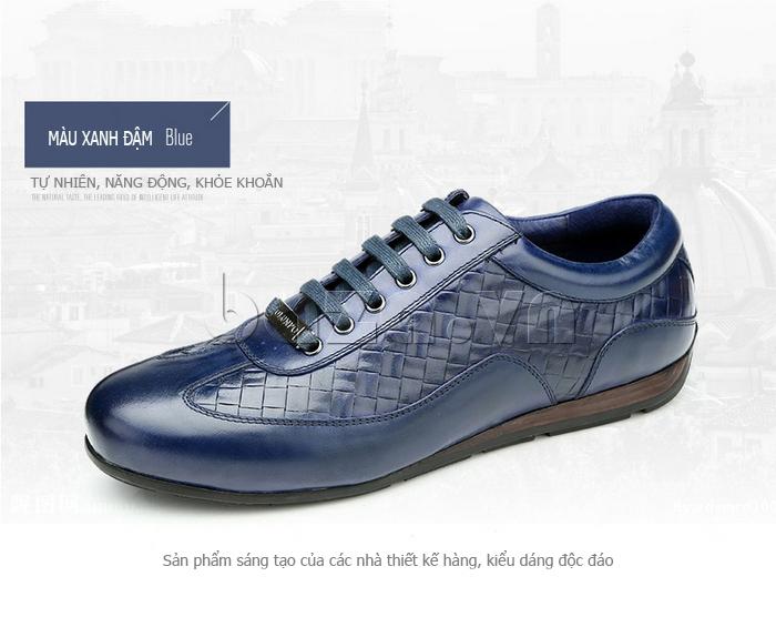 Giày da nam Olunpo QHT1436 màu xanh đậm năng động
