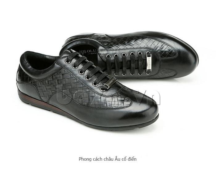 Giày da nam Olunpo QHT1436 màu đen huyền bí