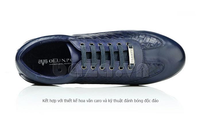 Giày da nam Olunpo QHT1436 kết hợp hoa văn caro