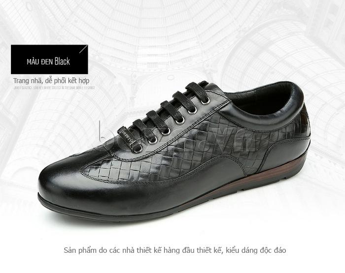 Giày da nam Olunpo QHT1436 màu đen dễ phối đồ
