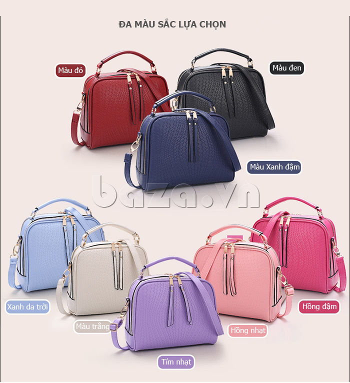 Túi nữ khóa kéo hai chiều Balana 203 đa dạng màu sắc