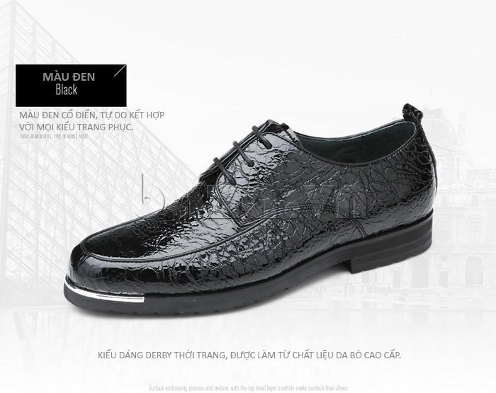 Giày da nam màu đen cổ điển phù hợp với mọi trang phục