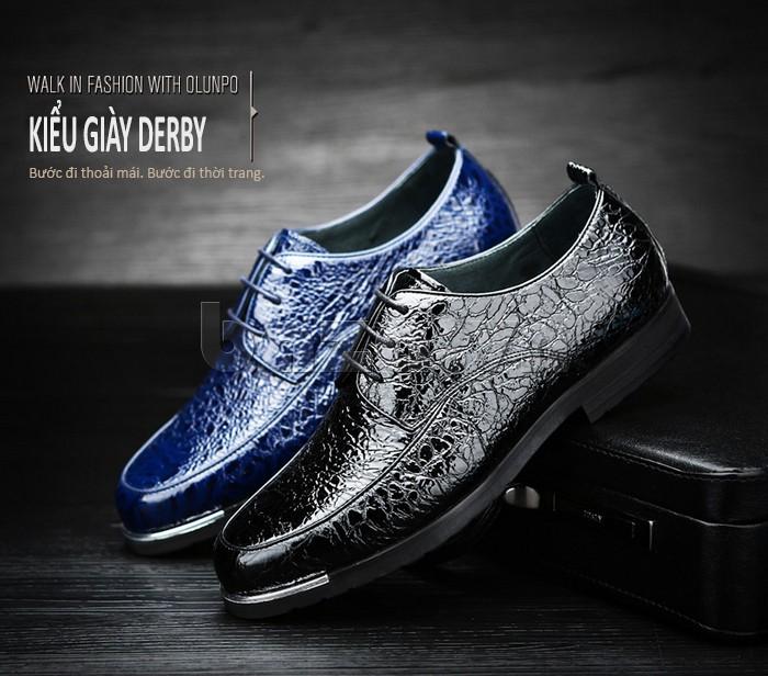 Giầy da nam Olunpo QDLXS1405 thuộc kiểu giày Derby cá tính