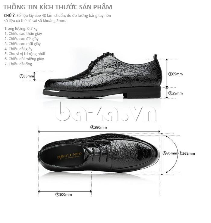 Giầy da nam Olunpo QDLXS1405 kiểu giày Derby được bán tại Baza