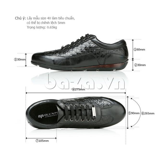 kích thước của Giày da nam Olunpo QHT1422