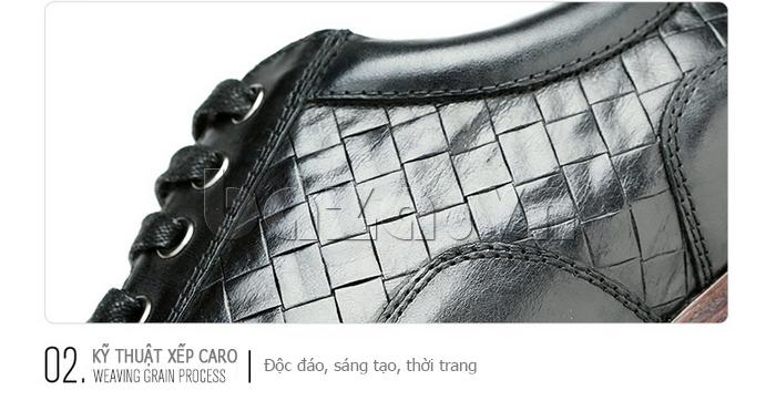 Giày da nam Olunpo QHT1422 kỹ thuật xếp caro
