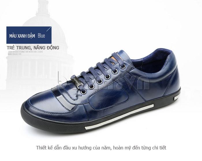 Giày da nam Olunpo QHT1422 màu xanh đậm trẻ trung