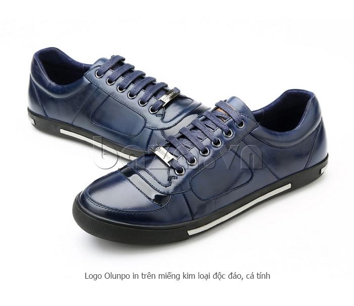 Giày da nam Olunpo QHT1422 có in logo kim loại độc đáo