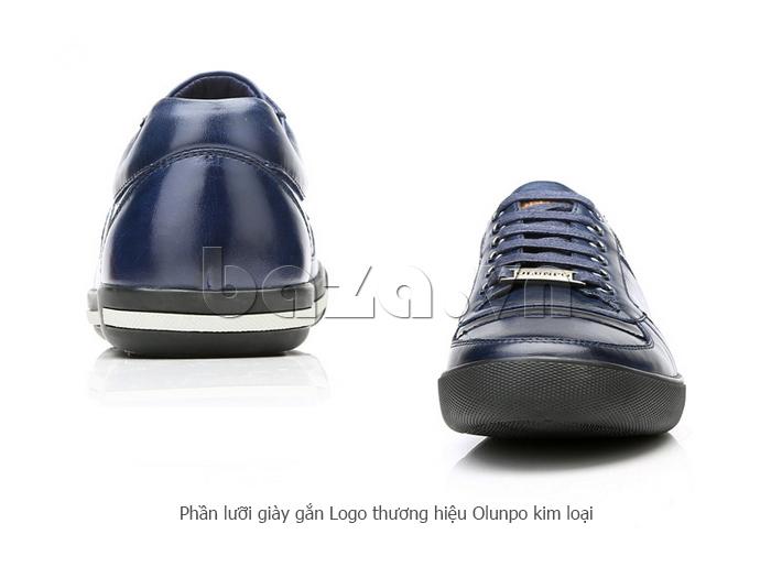 Phần lưỡi Giày da nam Olunpo QHT1422 được gắn kim loại ấn tượng