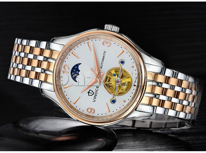 Đồng hồ cơ nam Vinoce V633231G mặt chạm rỗng thiết kế chính hãng