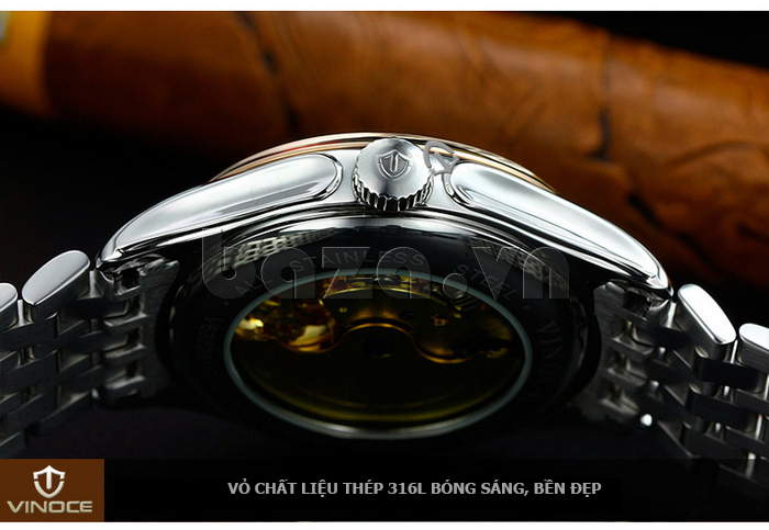 Đồng hồ cơ nam Vinoce V633231G mặt chạm rỗng thiết kế ấn tượng