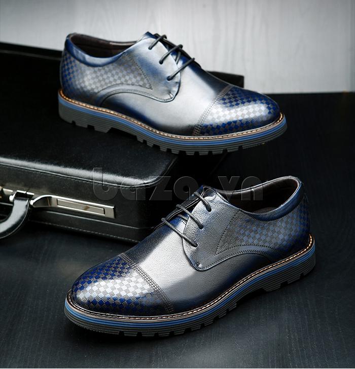 Giày da nam Olunpo QMD1401 màu xanh cá tính và trẻ trung
