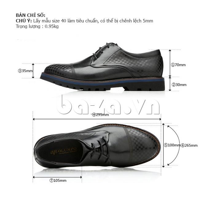 Kích thước của Giày da nam Olunpo QMD1401