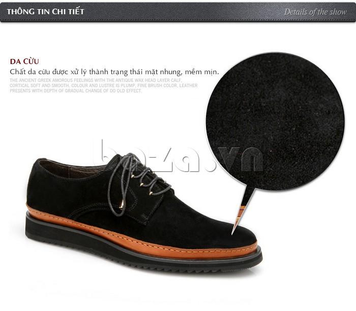 Giày nam chất liệu da cừu được xử lý thành trạng thái mặt nhung mềm mịn