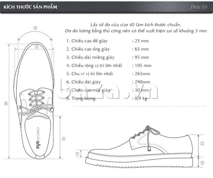 Cỡ giày được chế tác theo đúng kích cỡ giày tiêu chuẩn