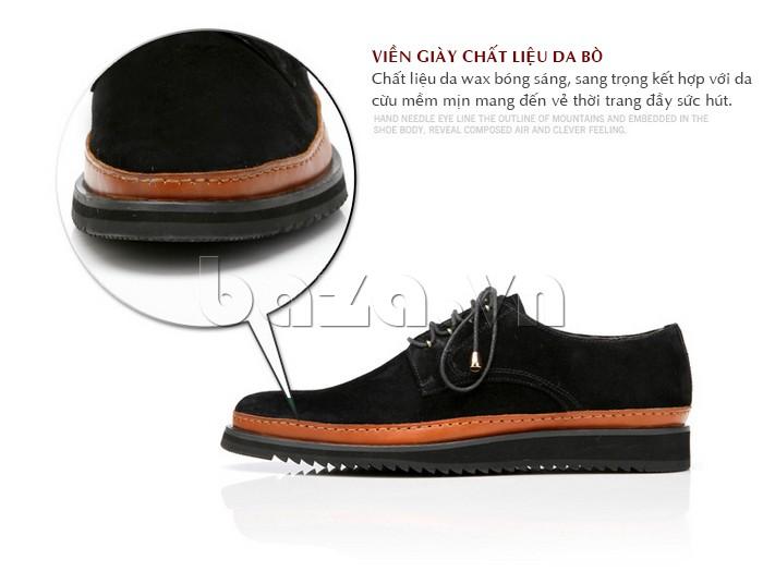 Viền giày chất liệu da bò được wax bóng sáng đầy thời trang