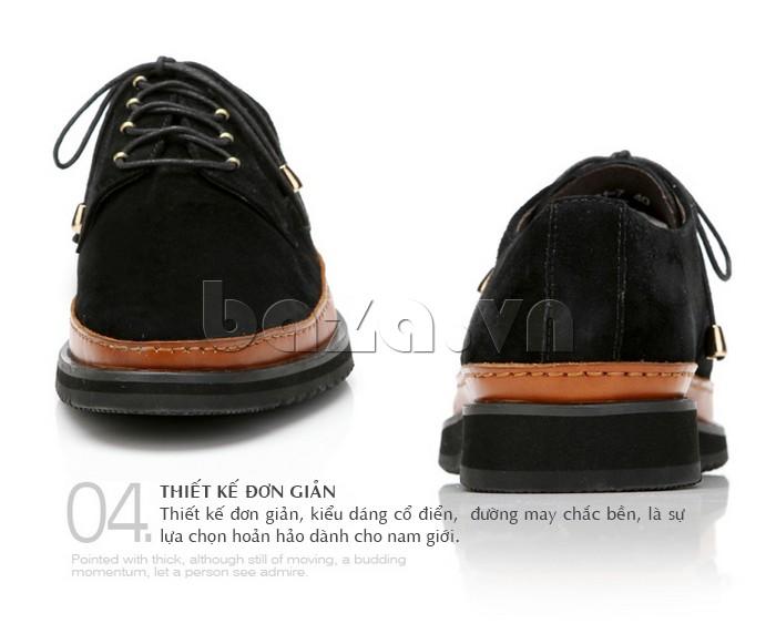 Thiết kế giày đơn giản với kiểu dáng cổ điển và đường may chắc bền, là sự lựa chọn hoàn hảo cho nam giới