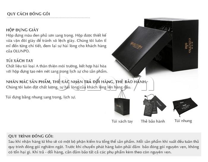 Hướng dẫn quy cách đóng gói cho giày nam Olunpo CJY1402