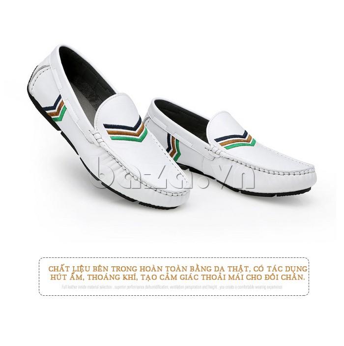 Chất liệu bên trong của giày nam Olunpo CJY1402 bằng da thật giúp chân thoải mái