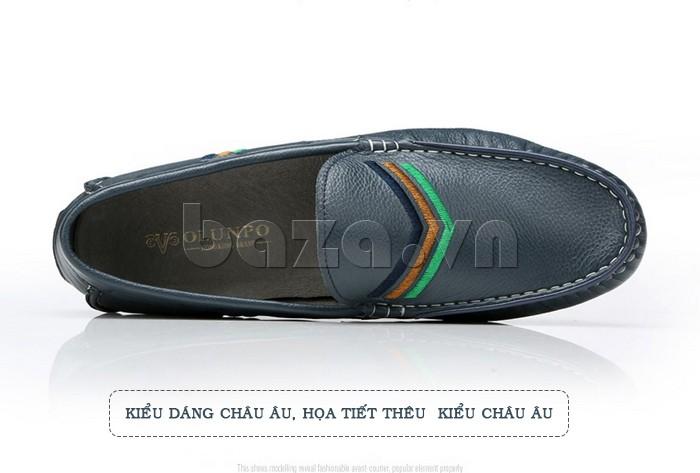 Giày nam Olunpo cả kiểu dáng và họa tiết đều theo phong cách Châu Âu