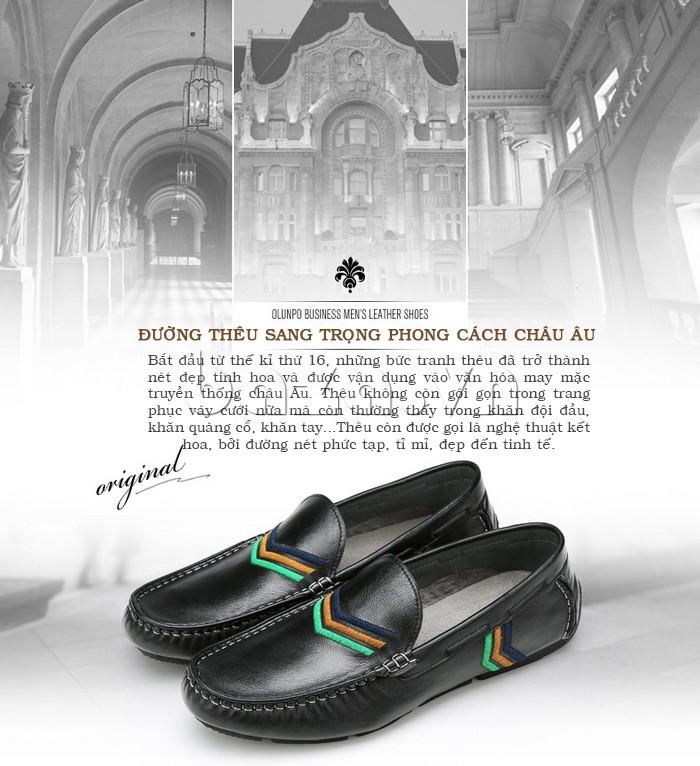 Giày nam Olunpo có đường thêu sang trọng phong cách Châu Âu