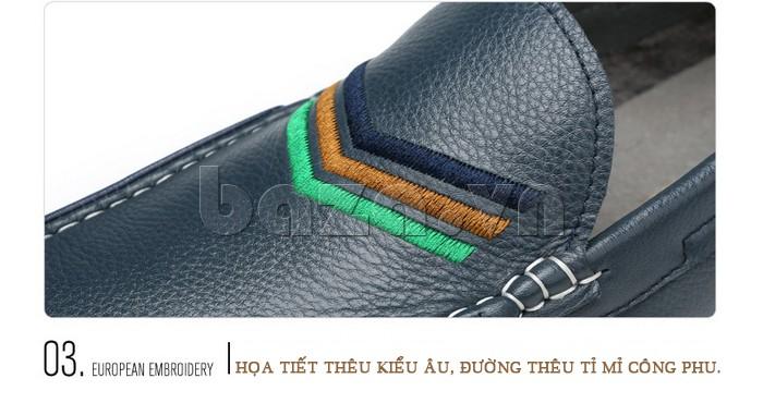 giày nam Olunpo CJY1402 có đường thêu kiểu Âu rất công phu tỉ mỉ