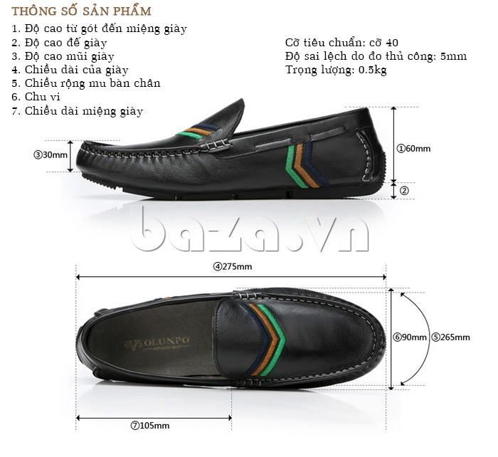 Thông số sản phẩm của giày nam Olunpo CJY1402